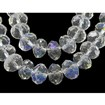 Glass Beads Strands, Pearl Luster Plated, Crystal Suncatcher, Faceted Abacus, Clear, 4mm in diameter, 3mm thick, hole: 1mm