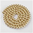 Pearlized Glass Round Beads Strand, Khaki, 8mm in diameter, hole: 1mm