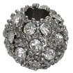Alloy Rhinestone Beads, Grade A, Round, Platinum, 10mm