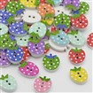 Dyed Strawberry 2-Hole Printed Wooden Buttons, Mixed Color, 12mm wide, 16mm long, 3mm thick, hole: 2mm