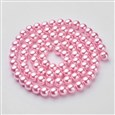 Glass Pearl Beads Strand, Pearlized, Round, Pink, 10mm, Hole: 1.5mm(HY10mm58)