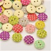 Flat Round 2-Hole Printed Wooden Buttons, Dot, Mixed Color, 13x3mm, Hole: 1mm
