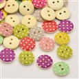 Flat Round 2-Hole Printed Wooden Buttons, Dot, Mixed Color, 13x3mm, Hole: 1mm(K-X-BUTT-P010-68)