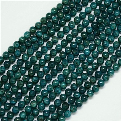 Natural Apatite Beads Strands, Round, Teal, 8mm, Hole: 1mm; about 50pc