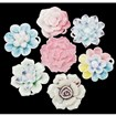 Handmade Porcelain Pendants, Famille Rose Porcelain, Flower, Mixed Color, 39~49mm long, 37~49mm wide, 15~18mm thick, hole: 5mm