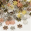 Mixed Tibetan Style Snowflake Bead Spacers, Mixed Color, 8.5mm in diameter, 2.5mm thick, hole: 1.5mm