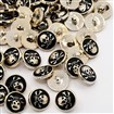 Black CCB Acrylic Enamel 1-Hole Flat Round with Pirate Style Skull Sewing Shank Buttons, 18x10mm, Hole: 3mm