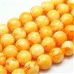 Buddhist Jewelry Beaded Findings Resin Imitation Beeswax Round Bead Strands, Gold, 6mm in diameter, hole: 1mm