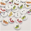 Flat Round with High-heeled Shoes Dyed 2-Hole Printed Wooden Buttons, Mixed Color, 15mm in diameter, 3mm thick, hole: 2mm