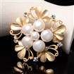 Flower Natural Pearl Alloy Safety Brooches, with Rhinestone, Lead Free & Nickle Free, Matte Golden, 40mm wide, 40mm long, 10mm thick, pin: 1mm