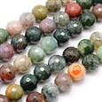 Natural Indian Agate Beads Strands, Faceted, Round, Mixed Color, 8mm in diameter, hole: 1mm(G-G542-8MM-19)