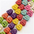 Natural Howlite Beads Strands, Dyed, Buddha, Mixed Color, 14x14x8mm(TURQ-G140-19)