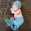 Cute Mermaid Design Handmade Crochet Baby Beanie Costume Photography Props, DeepSkyBlue, 650mm long, 240mm wide; hat: 160mm long, 180mm wide