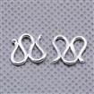 Sterling Silver S Shape Clasp, S-Hook, Silver, 10x11x1.5mm