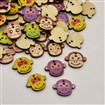 Monkey Head Dyed 2-Hole Printed Wooden Buttons, Mixed Color, 22mm wide, 18mm long, 2mm thick, hole: 1.5mm