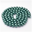 Glass Pearl Beads Strands, Pearlized, Round, DarkGreen, 10mm in diameter