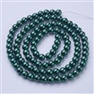 Glass Pearl Beads Strands, Pearlized, Round, DarkGreen, 8mm, Hole: 1mm