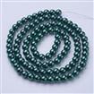 Pearlized Glass Round Beads Strand, DarkGreen, 8mm in diameter, hole: 1mm