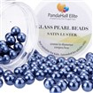 Pearlized Glass Pearl Round Beads, Dyed, MidnightBlue, 10mm, Hole: 1mm; about 100pcs/box
