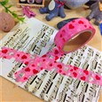 Heart DIY Scrapbook Decorative Adhesive Tapes for Valentine's Day, Pink, 15mm, 6m/roll(K-DIY-A002-A1-269)