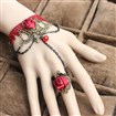 Gothic Style Vintage Red Rose Lace Bracelets with Rings Wristlet Jewelry, with Glass Beads, Iron Chains & Alloy Lobster Claw Clasps