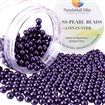 Pearlized Glass Pearl Round Beads, Dyed, Indigo, 6mm, Hole: 1mm; about 400pcs/box