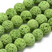 Natural Lava Beads Strands, Dyed, Round, LimeGreen, 8~9mm, Hole: 1mm; about 48pcs/strand, 15.1