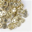 Alloy Rhinestone Pendants, Smile Face, Matte Golden, 16mm long, 13mm wide, 2.5mm thick, hole: 2mm.
