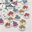 Flat Round 2-Hole Octopus Printed Wooden Buttons, White, 15mm in diameter, 3mm thick, hole: 2mm