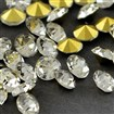 Diamond Crystal Grade A Glass Pointed Back Chaton Rhinestones, Back Plated, 3.3~3.4mm
