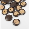 Carven Wooden Buttons, 2-Hole, Flat Round, CoconutBrown, 30mm in diameter, 5mm thick, hole: 3mm(K-X-BUTT-A024-48L-11A)