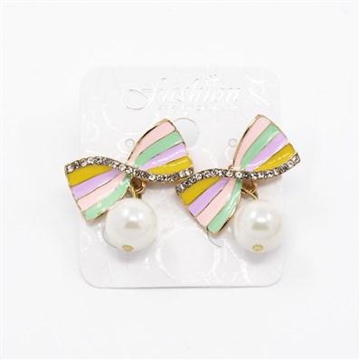 Alloy Enamel Ear Studs, with Gread A Rhinestone and Acrylic Beads, Gol