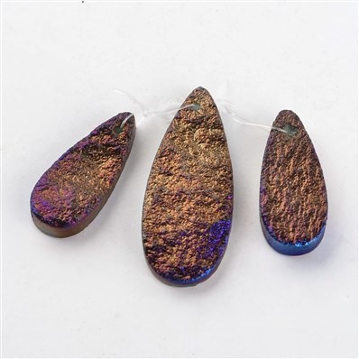 Agate Pendants, Drop Electroplated Natural Agate Pendants Sets, Copper