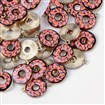 Printed Alloy Pendants, Donut, Light Gold, LightSalmon, 19mm long, 16mm wide, 2mm thick, hole: 1.5mm.