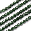 Green Goldstone Beads Strands, Faceted, Round, DarkSlateGray, 4mm in diameter, hole: 1mm