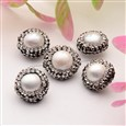 Potato Natural Pearl Beads, with Polymer Clay Rhinestone, Seashell, 13~15mm diameter, 8~10mm long, hole: 1mm(PEAR-E299-04A)