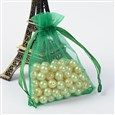 Organza Bags, with Ribbons, Green, 9x7cm(K-OP-UK0001-7x9cm-09)