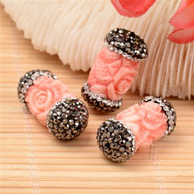 Column with Rose Shell Beads, with Polymer Clay Rhinestones, Pink, 12~