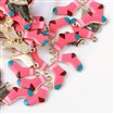 Printed Alloy Pendants, Sock, Light Gold, HotPink, 22.5mm long, 14mm wide, 3mm thick, hole: 2mm.