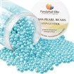 PandaHall Elite&reg Pearlized Environmental Dyed Glass Pearl Round Bead, DeepSkyBlue, 4~4.5mm, Hole: 0.7mm; about 1000pcs/box