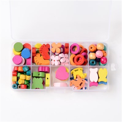 1Box Mixed Shapes Wood Beads for Children DIY, Mixed Color
