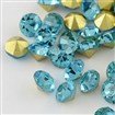 Vintage Grade A Glass Pointed Back Chaton Rhinestones, Back Plated, Diamond, Aquamarine, 1.6~1.7mm; about 144pcs/gross