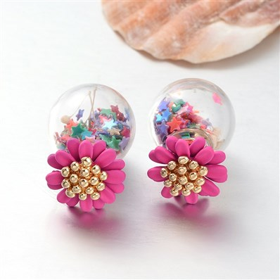 Double Sided Round Glass Ball Stud Earrings, with Resin Flower Beads a