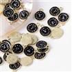 Alloy Enamel Pendants, Clock, Light Gold, Black, 17.5mm long, 13.5mm wide, 2mm thick, hole: 2mm.