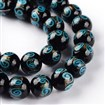 Handmade Goldsand Lampwork Bead Strands, Round, DeepSkyBlue, 12mm in diameter, 11mm thick, hole: 1~1.5mm, approx 27~30 beads / strand, 13.4