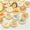 Flat Round with Animal Dyed 2-Hole Printed Wooden Buttons, LemonChiffon, 15x3mm, Hole: 2mm