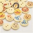 Flat Round with Animal Dyed 2-Hole Printed Wooden Buttons, LemonChiffon, 15x3mm, Hole: 2mm(K-X-BUTT-P010-12B)