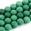 Natural Lava Beads Strands, Dyed, Round, Teal, 8~8.5mm, Hole: 1mm; about 50pcs/strand, 15.9