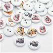 Flat Round with Electrical Appliance Dyed 2-Hole Printed Wooden Buttons, White, 15mm in diameter, 3mm thick, hole: 2mm