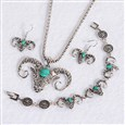Antique Silver Plated Fashionable Retro Synthetic Turquoise Cattle Jewelry Sets: Earrings & Bracelets & Necklace, with Alloy Findings(SJEW-E044-06B)